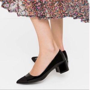 Zara patent toe cap pointy chunky heels